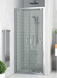 Varstomos dviejų varčių dušo durys LLD02/700, prof. brillant, stiklas transparet