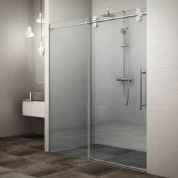 Slankiojančios dušo durys KID2/1500, profilis blizgus, stiklas skaidrus