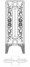 Ketinis sek. radiatorius BOHEMIA R 800/220, koja (grunto spalva RAL7035)