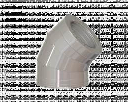 Dvisienė alkūnė NPNP (S-0.8mm) 45° d.115/215