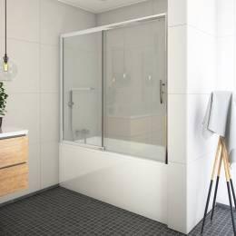 Vonios sienelė PXV2P 1700x1500 mm su stumdomomis durimis, prof. blizgus, stiklas skaidrus
