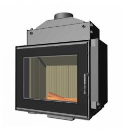 Plieninis židinio ugniakuras Romotop KV662TV, su šilumokaičiu, atveriamomis durelėmis