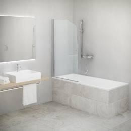 Vonios sienelė SWING atsidaranti į abi puses, prof. sidabras, stikl. transparent