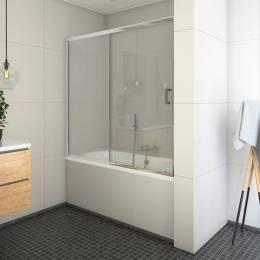 Vonios sienelė su stumdomomis durimis LLV2/1400 brilliant/Transparent