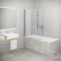 Vonios sienelė TZVP2 1100/1400, stiklas skaidrus, dešinės pusės
