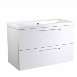 Apatinė spintelė MILANO su 2 stalčiais, rankenomis, praustuvu, balta matinė, 81 cm