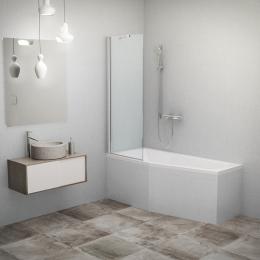Stacionari vonios sienelė PXV1 700/1500, stiklas skaidrus, profilis blizgus
