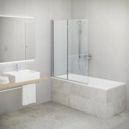 Vonios sienelė TZVL2 1100/1400, stiklas skaidrus, kairės pusės