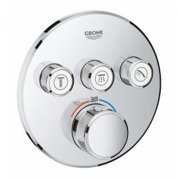 Virštinkinė dušo maišytuvo dalis Grohtherm Smartcontrol, 3 valdikliai, chromas