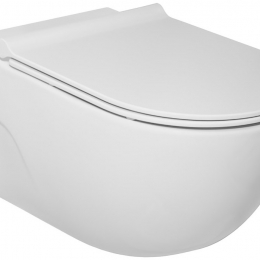 Pakabinamas unitazas MERIDIAN Rimless PACK su Slim SC dangčiu (560x360x400 mm), baltas