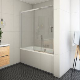 Vonios sienelė LLV2 150/150 cm, su stumdomom durim, prof. blizgus, stikl. skaidrus