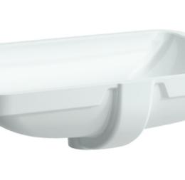 Iš apačios įmontuojamas praustuvas 55x38 cm PRO S, be angos maišytuvui, nešlifuotas, baltas, LCC danga
