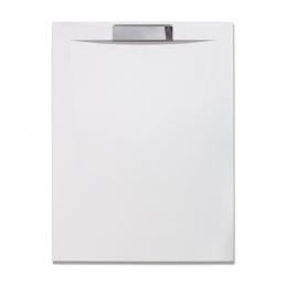 Akmens masės dušo padėklas PRESTOL 1400x90 su nerūdijančio plieno uždanga, baltas