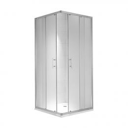CUBITO pure Dušo kabina kvadratinė 90 x 90 x 195 cm,  2 stumdomos durys, skaidrus stiklas, sidabrinis profilis