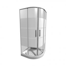 LYRAplus Dušo kabina 90 x 90 x 190 cm, pusapvalė, 550 mm spindulys, baltas profilis,  stiklas su juostuotu dekoru