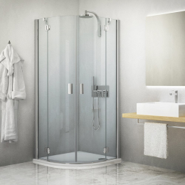 Pusapvalė dušo kabina HBR2 900/2010 su 2 el. durimis, prof. brillant premium, stikl. transparent