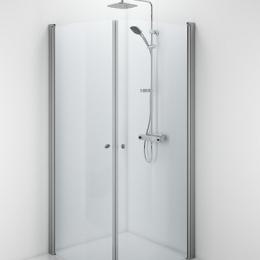 Pusapvalės dušo durys SPACE 900x2000 mm, aliuminio profilis, skaidrus 6mm stiklas (dušo kabinai reikia 2 vnt. durų)
