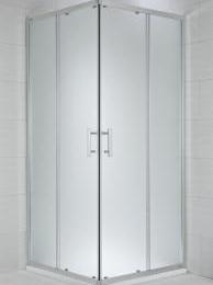 CUBITO pure Dušo kabina kvadratinė 80 x 80 x 195 cm,  2 stumdomos durys, arktinis stiklas, sidabrinis profilis