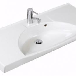 Praustuvas SIGN Compact, 92x42 cm ,centrinis, tvirt. laikikliais, baltas