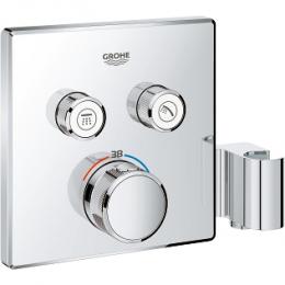 Virštinkinė termostatinio maišytuvo dalis Grohtherm Smartcontrol, 2 valdikliai, su integruotu dušo laikikliu, chromas