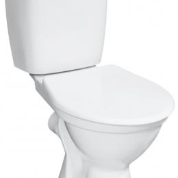 Kombinuotas WC NORMA su termoplastiko dangčiu, horizontalus, 3/6 ltr, vand. įvad. iš šono, baltas