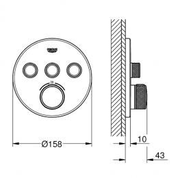 Virštinkinė maišytuvo SmartControl dalis, 3 valdikliai, hard graphite spalva