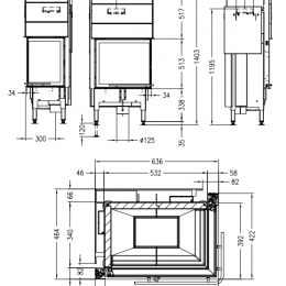 Plieninis židinio ugniakuras Spartherm Global 2Rh 58/39 - 11kW, dešinės pusės pakeliamos durys