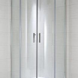 CUBITO pure Dušo kabina 100 x 100 x 195 cm, pusapvalė, 2 stumdomos durys, arktinis stiklas, sidabrinis profilis, 550 mm