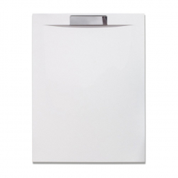 Akmens masės dušo padėklas PRESTOL 1200x80 su nerūdijančio plieno uždanga, baltas