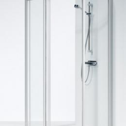 SOLID penkiakampė dušo kabina 90x90x195 cm, aliuminio sp. profilis, skaidrus stiklas, SVP NK 99