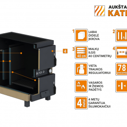 Kieto kuro katilas-viryklė, AKT Ignis D, 15 kW