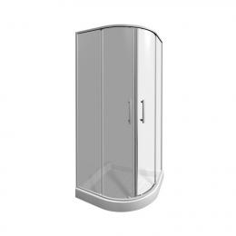 LYRAplus dušo kabina 90x90x190 cm, pusapvalė, 550 mm spindulys, baltas profilis, skaidrus stiklas