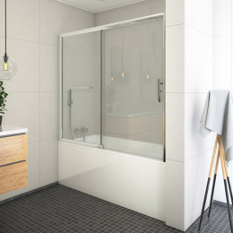 Stumdoma vonios sienelė PXV2L 1800/1500, stiklas skaidrus, profilis blizgus
