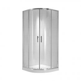CUBITO pure Dušo kabina 90 x 90 x 195 cm, pusapvalė, arktinis stiklas, sidabrinis profilis, 540 mm sp