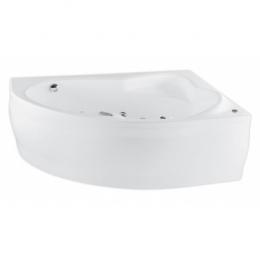Akrilinė asimetrinė vonia EUROPA 165x105cm su rėmu,masažo sistema SILVER 2 NAVI ,dešininė,balta