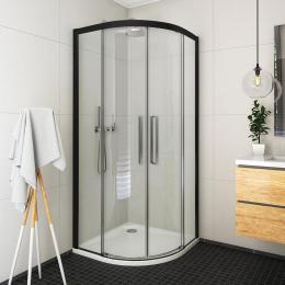Pusapvalė dušo kabina ECR2N/900 su 2 slank. durimis, prof. juodas, stiklas Transparent