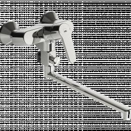Vonios/dušo maišytuvas Saga su sukiojamu ilgu snapu 300 mm