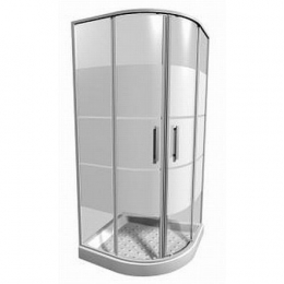 LYRAplus Dušo kabina 80 x 80 x 190 cm, pusapvalė, 550 mm spindulys, baltas profilis, stiklas su juostuotu dekoru