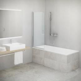 Vonios sienelė TV1 700/1400, stiklas skaidrus, profilis sidabro