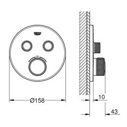 Virštinkinė dušo maišytuvo dalis Grohtherm SmartControl, 2 valdikliai, grafito spalva
