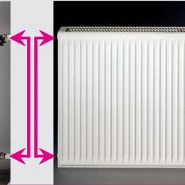 Renovacinis plieninis radiatorius HM 21C-AT-55-1200, prijungimas šoninis