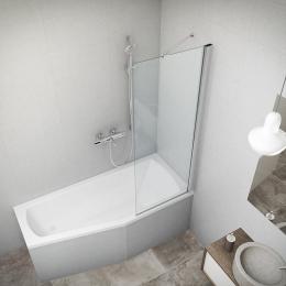 Stacionari vonios sienelė PXV1 800/1500, stiklas skaidrus, profilis blizgus