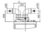 """Dūmtraukio paskirstymo adapteris, """"split"""" vamz. sistema, d80"""