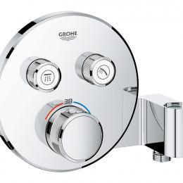 Virštinkinė dušo maišytuvo dalis Grohtherm Smartcontrol, 2 valdikliai, su integruotu dušo laikikliu, chromas
