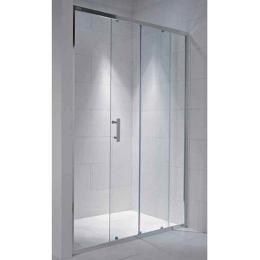 CUBITO pure dušo durelės 100 x 195 cm, 2jų segmentų, arktinis stiklas, sidabro profilis, kairė/dešinė
